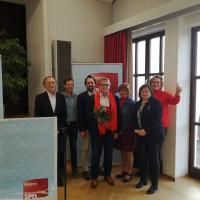 v.r.n.l.: Zimmermann Claudia (Bgm.-Kandidatin Cham), Marianne Schieder (MdB), Hecht Renate (Bgm.-Kandidatin Rodig), Sebastian Meier (Landratskandidat), Handl Norbert (Bgm.-Kandidat Wald), Franz Kopp (Vorsitzender SPD-KV Cham), Schindler Franz (Bezirk)